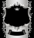 Tappningsilverram med en krona och en prydnad på svart vektor illustrationer