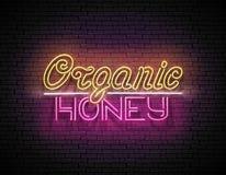 Tappningskylt med organiska Honey Inscription stock illustrationer