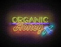 Tappningskylt med organiska Honey Inscription royaltyfri illustrationer