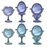 Tappningspeglar med prydnaden och garnering stock illustrationer