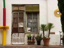 Tappningstildörr med den vita väggen och blomkrukor royaltyfria bilder