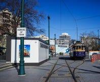 Tappningstilspårvagn på den Christchurch spårvägen Arkivbilder