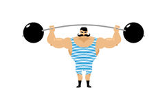 TappningStrongman Forntida idrottsman nen Retro kroppsbyggareskivstång S vektor illustrationer