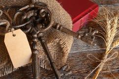 Tappningtangenter och röd bok Arkivfoton