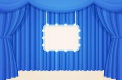 Tappningteater eller bioetapp med blåttgardiner och brädet för ljusa kulor för stort festtält Arkivbilder