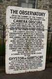 Tappningtecken för camera obscura i Clifton, Bristol, UK Arkivbild