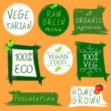 Tappningtecken: vegetarian rå grön meny, alla organiska ingredienser, 100 ECO, strikt vegetarianmat, 100 VEG, pescatarian som är  royaltyfri illustrationer