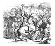 Tappningteckning av den bibliska berättelsen av israeliter som anfaller staden av Jericho stock illustrationer