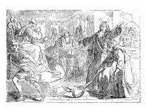 Tappningteckning av den bibliska berättelsen av Moses Arguing med farao om frigörande av israeliter Personal ändrande in i orm royaltyfri illustrationer