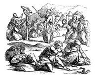 Tappningteckningen av den bibliska berättelsen av israeliter som talas mot Moses, gud överför giftiga ormar som bestraffning stock illustrationer
