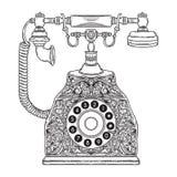 Tappningtelefon med den blom- prydnaden stock illustrationer
