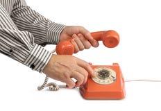 Tappningtelefon som kallar telefonluren royaltyfria bilder