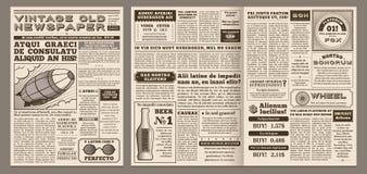 Tappningtidningsmall Retro tidningssida, gammal nyheternarubrik och orientering för illustration för dagboksbladrastervektor stock illustrationer