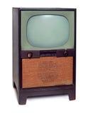TappningTVtelevision som 1950 isoleras på White Royaltyfria Bilder