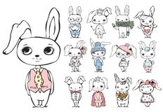 Tappningtypografiaffisch med toppna stilfulla kaniner Arkivbild