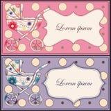 Tappninguppsättning av kort med barnvagnar Royaltyfri Foto