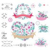 Tappninguppsättning av retro blommor som gifta sig pilar, blom- buketter, kransar, band och etiketter på vit bakgrund Royaltyfri Fotografi