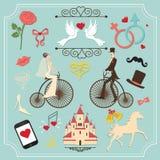 Tappninguppsättning för att gifta sig inbjudan gulliga designelement Royaltyfri Foto