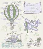 Tappninguppsättning med gammalt transportmedel royaltyfri illustrationer