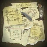 Tappningurklippsbok med för pappersdesign för gammal stil beståndsdelar Royaltyfri Foto