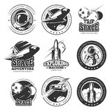 Tappningutrymme, astronautik, rymdfärjanflygvektoretiketter, logoer, emblem, emblem Royaltyfria Bilder