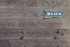 Tappningvägvisare på träväggen som säger `-strand`, Royaltyfri Foto