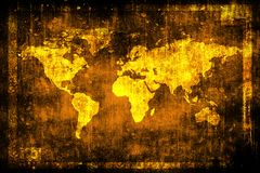 Tappningvärldskarta på den gamla grungy väggen Skrapayttersida inramnin grunge stock illustrationer