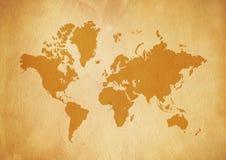 Tappningvärldskarta på gammalt pergamentpapper stock illustrationer