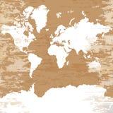 Tappningvärldskarta på träbakgrund royaltyfri illustrationer