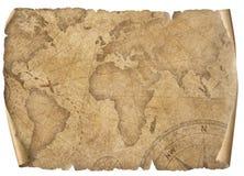 Tappningvärldskartapergament som isoleras på vit Baserat på bilden som möbleras från NASA royaltyfri illustrationer