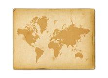 Tappningv?rldskarta p? gammalt pergamentpapper vektor illustrationer