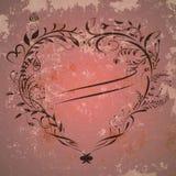 Tappningvalentinbakgrund med hjärtaramen royaltyfri illustrationer