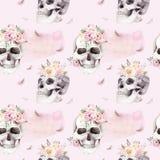 Tappningvattenfärgmodeller med skallen och rosor, vildblommor, hand dragen illustration i bohostil Blom- skalle stock illustrationer
