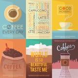 Tappningvektoraffischer Kaffe drinkar royaltyfri illustrationer