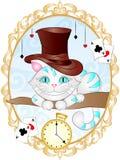 Tappningvektorillustration Cheshire Cat arkivbild