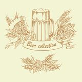 Tappningvektorillustrationen av öl rånar med flygtur, korn, skyddsramen och korvar Arkivbild