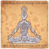 Tappningvektorillustrationen med en meditation poserar Arkivfoto