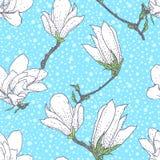 Tappningvektormodell med magnoliablommor royaltyfri illustrationer