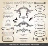 Tappningvektoruppsättning av gränsramar och sidagarneringar royaltyfri illustrationer