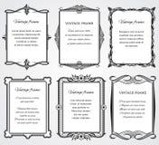 Tappningvictoriangränsen inramar vektoruppsättningen för certifikat och bokdesign stock illustrationer