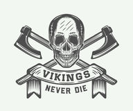 Tappningvikings motivational logo, emblem, emblem i retro stil Royaltyfri Foto