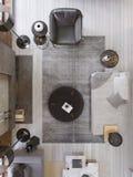 Tappningvindvardagsrum med den moderna spisen, modern inredesign, bästa sikt, plan stock illustrationer