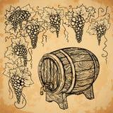 Tappningvinfat och druva på åldrig pappers- bakgrund element royaltyfri illustrationer