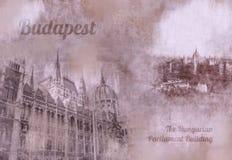 Tappningvykort av Budapest Arkivfoton