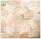 Tappningvykort handskrivna odefinierade texter Arkivbilder