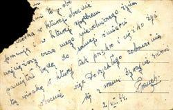 Tappningvykort med det handskrivna meddelandet Arkivbild