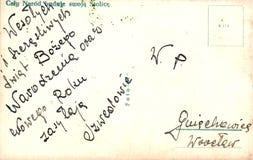 Tappningvykort med det handskrivna meddelandet Arkivfoto