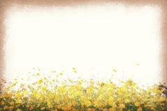 Tappningvykortet, kosmos blommar i fältet, retro stil för pappers- textur Royaltyfri Bild