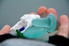 Tappo della bottiglia di vetro del mare Immagine Stock