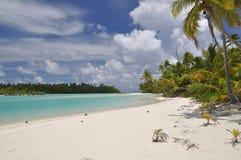 Tapuaetai (eine Fuss-Insel) - Aitutaki Lagune Lizenzfreies Stockbild